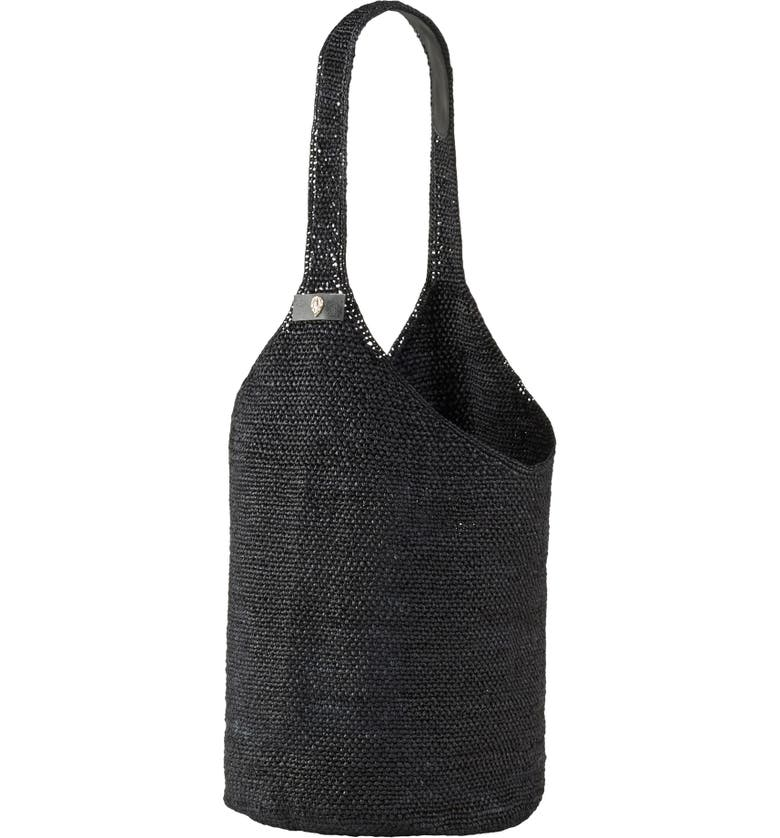 HELEN KAMINSKI Helen Kaminksi Carillo Woven Raffia Sac Bucket Bag, Main, color, CHARCOAL