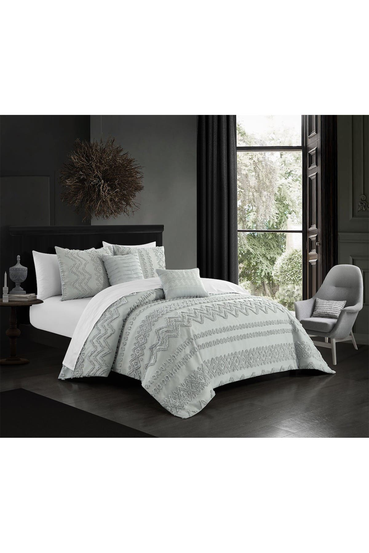 Chic Home Bedding Jenson Jacquard Geometric Design Queen Comforter Set Grey 5 Piece Set Nordstrom Rack