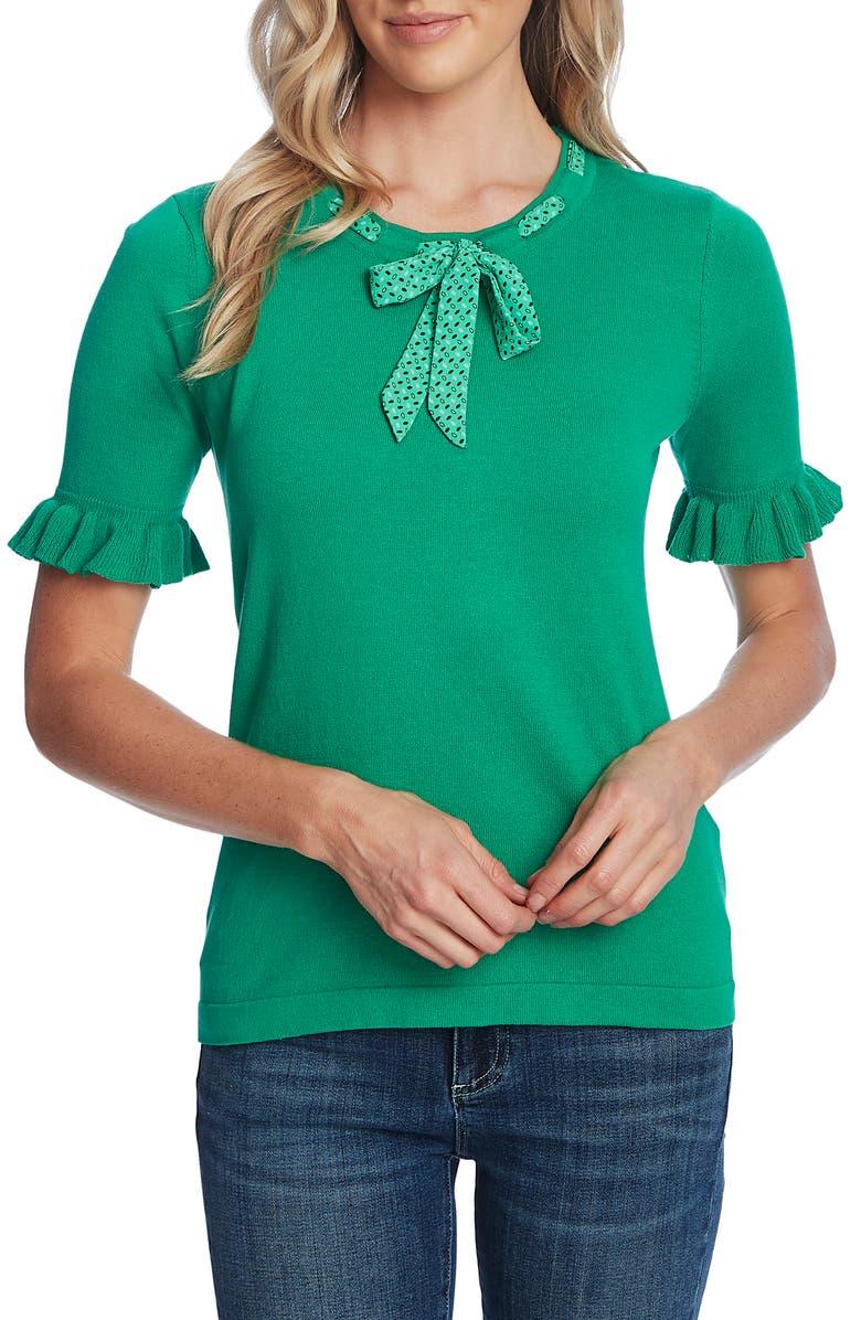 CECE Ruffle Sleeve Tie Neck Sweater, Main, color, 333