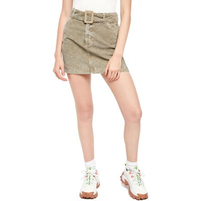 Bdg Urban Outfitters Belted Corduroy Miniskirt, Green