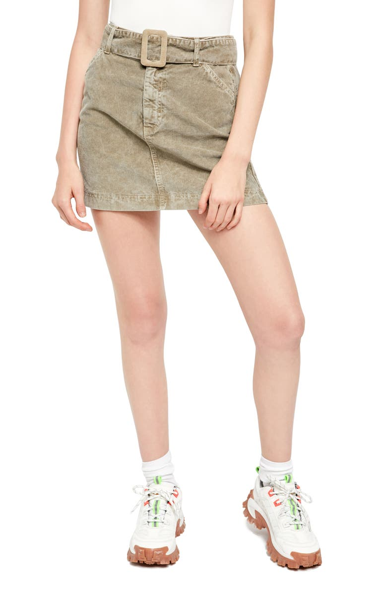 BDG Urban Outfitters Belted Corduroy Miniskirt, Main, color, ARMY