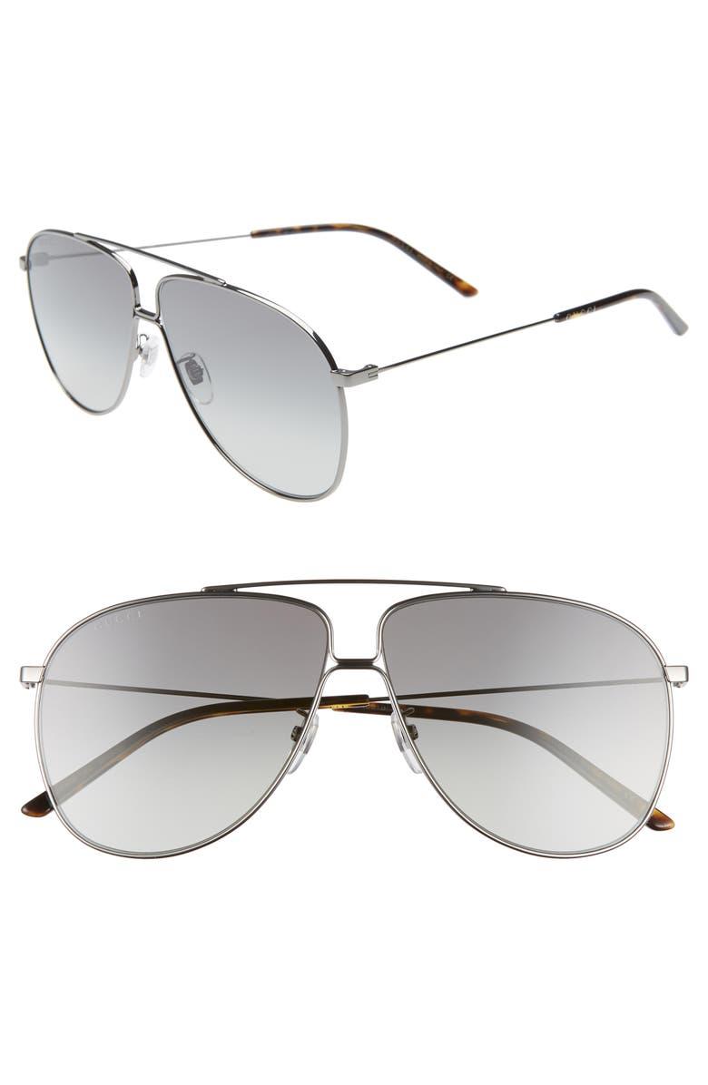 GUCCI 63mm Oversize Gradient Aviator Sunglasses, Main, color, RUTHENIUM/ GREY