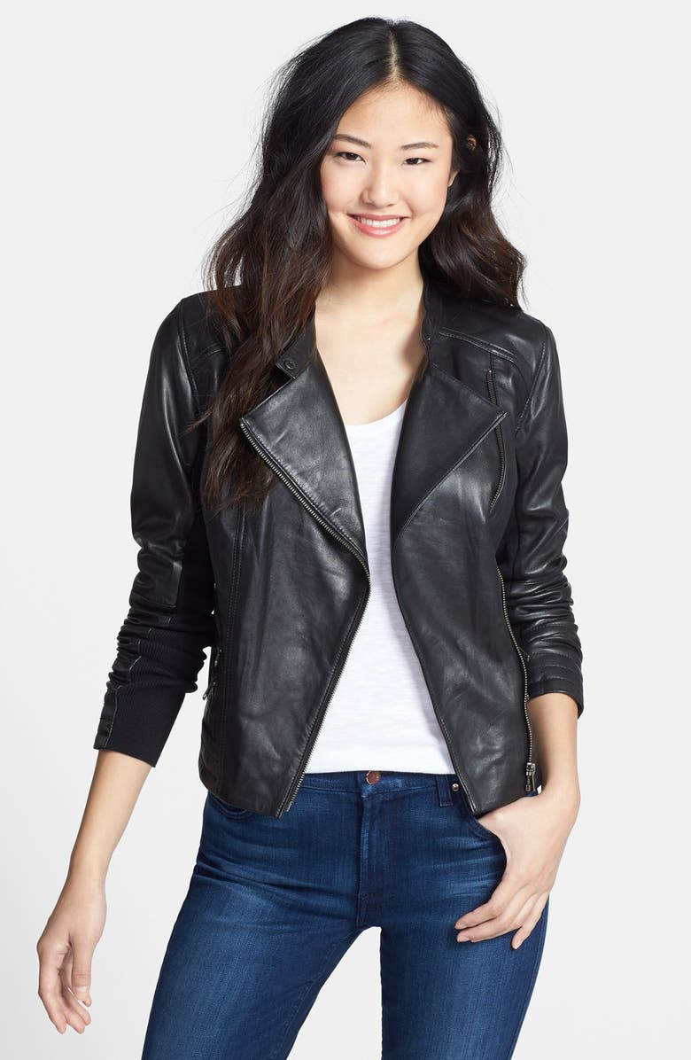 HALOGEN<SUP>®</SUP> Zip Detail Leather Moto Jacket, Main, color, 001