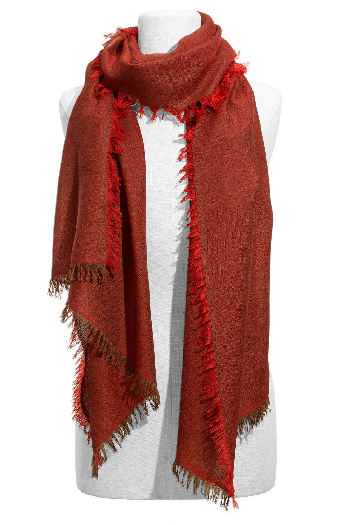 ,                             'Eyelash' Colorblock Cashmere Wrap,                             Main thumbnail 80, color,                             604