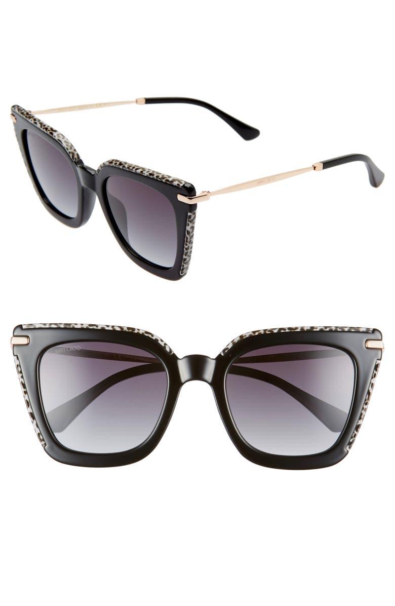 JIMMY CHOO Ciara 52mm Cat Eye Sunglasses, Main, color, 001