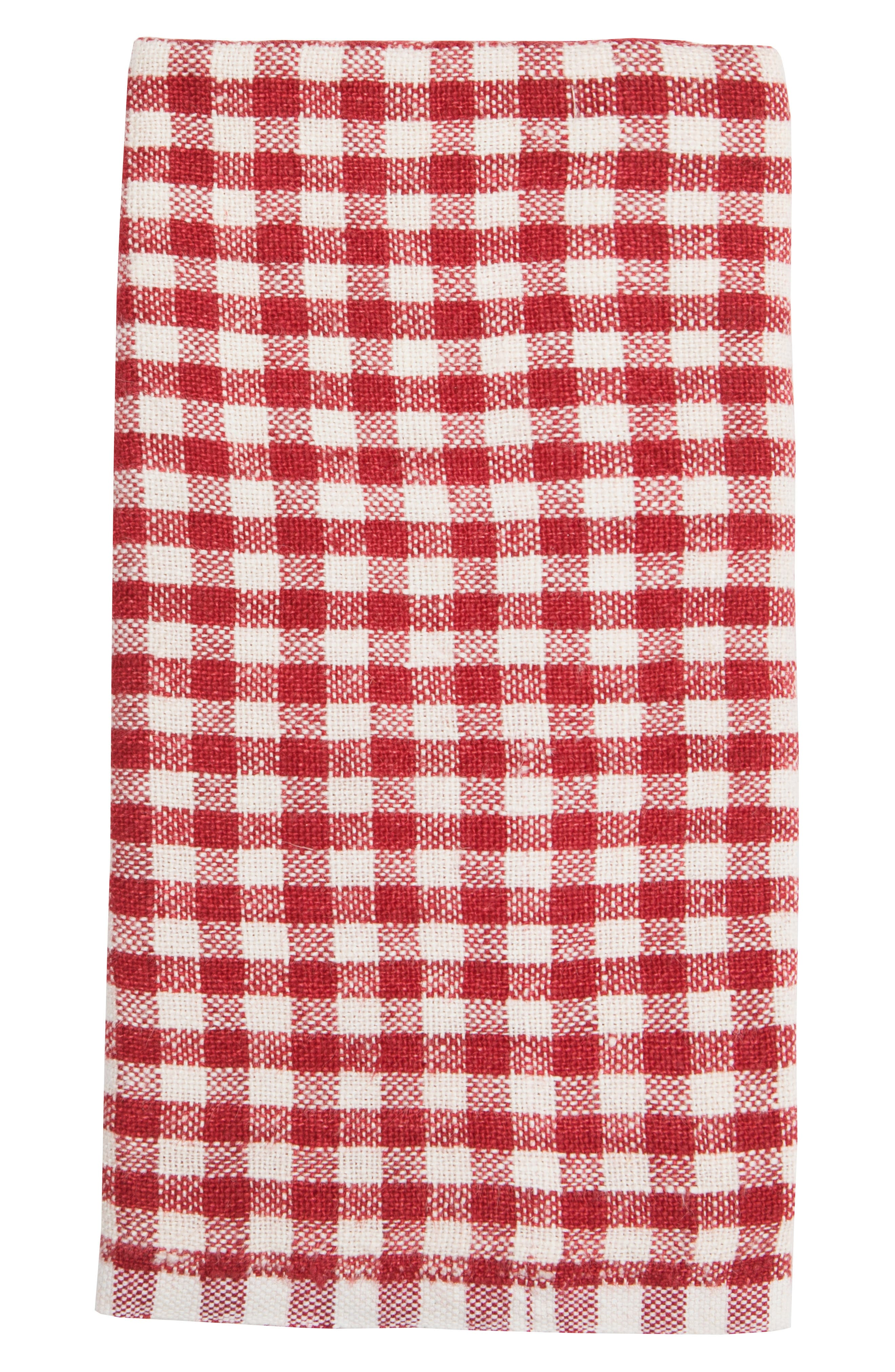 Caravan Set Of 2 Classic Gingham Tea Towels Size One Size  Red
