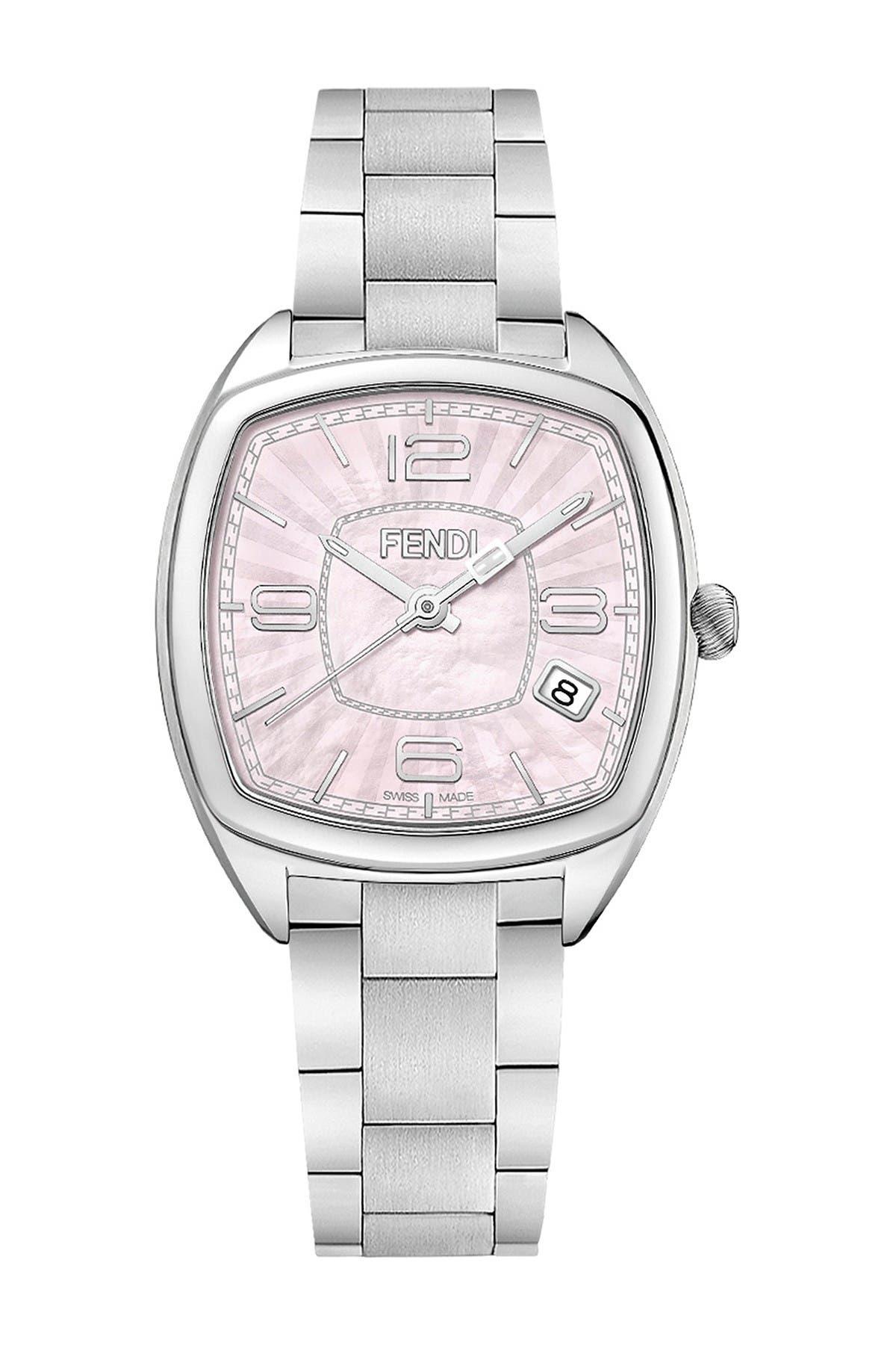 Image of FENDI Women's Momento Rectangular Pink Dial Watch, 32mm