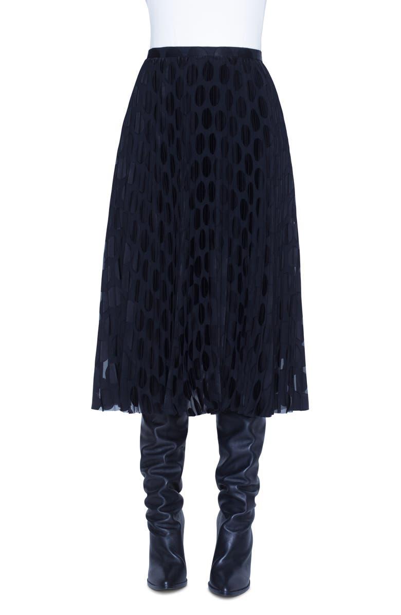 AKRIS PUNTO Plissé Polka Dot Devoré Midi Skirt, Main, color, BLACK