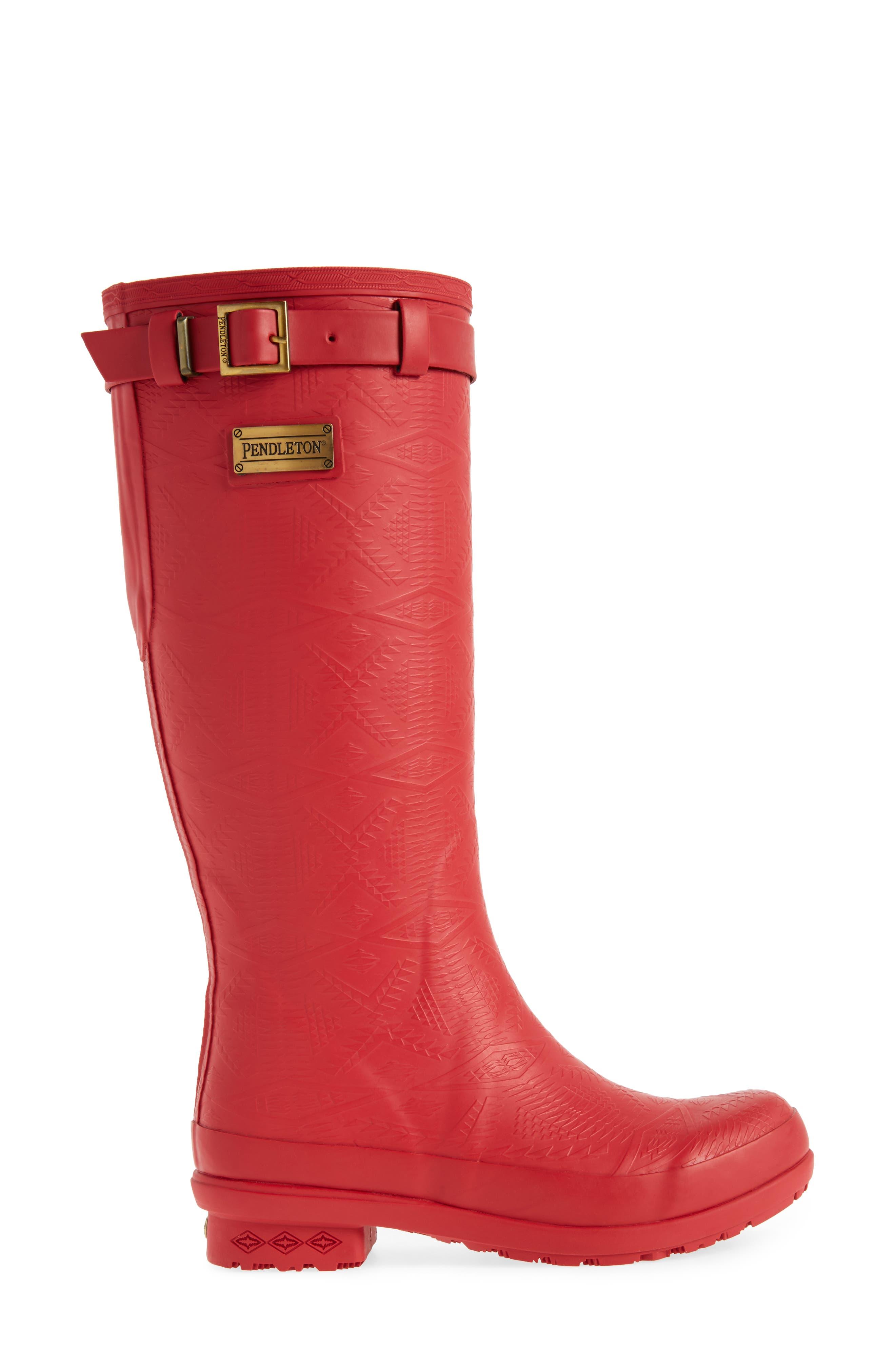 ,                             Embossed Tall Waterproof Rain Boot,                             Alternate thumbnail 3, color,                             SCARLET