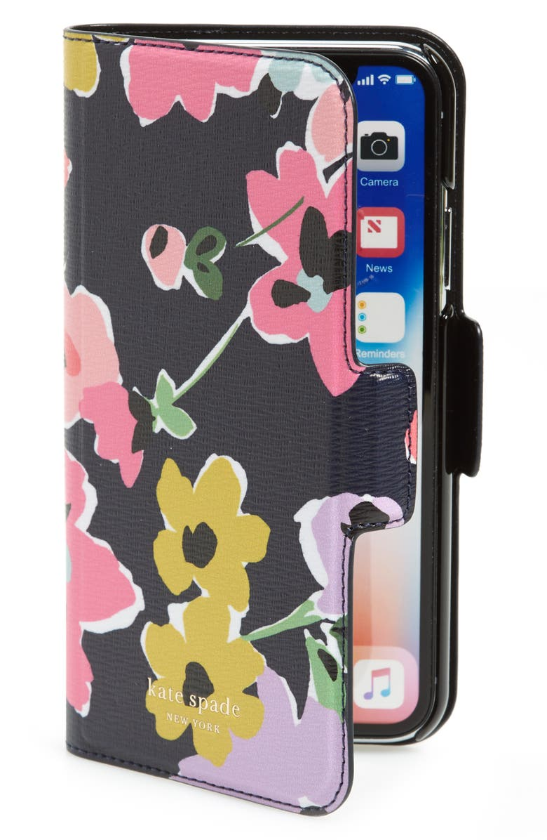 KATE SPADE NEW YORK wildflower bouquet iPhone X/Xs/Xs Max & XR folio, Main, color, NAVY MULTI