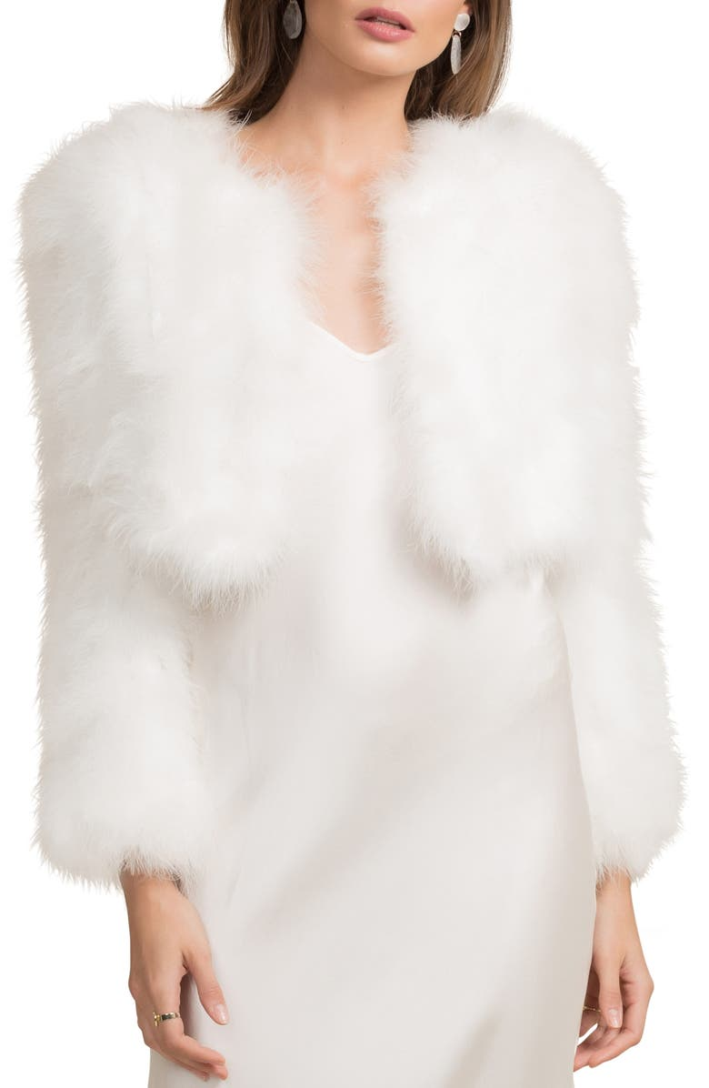 BÜBISH Manhattan Feather Jacket, Main, color, WHITE