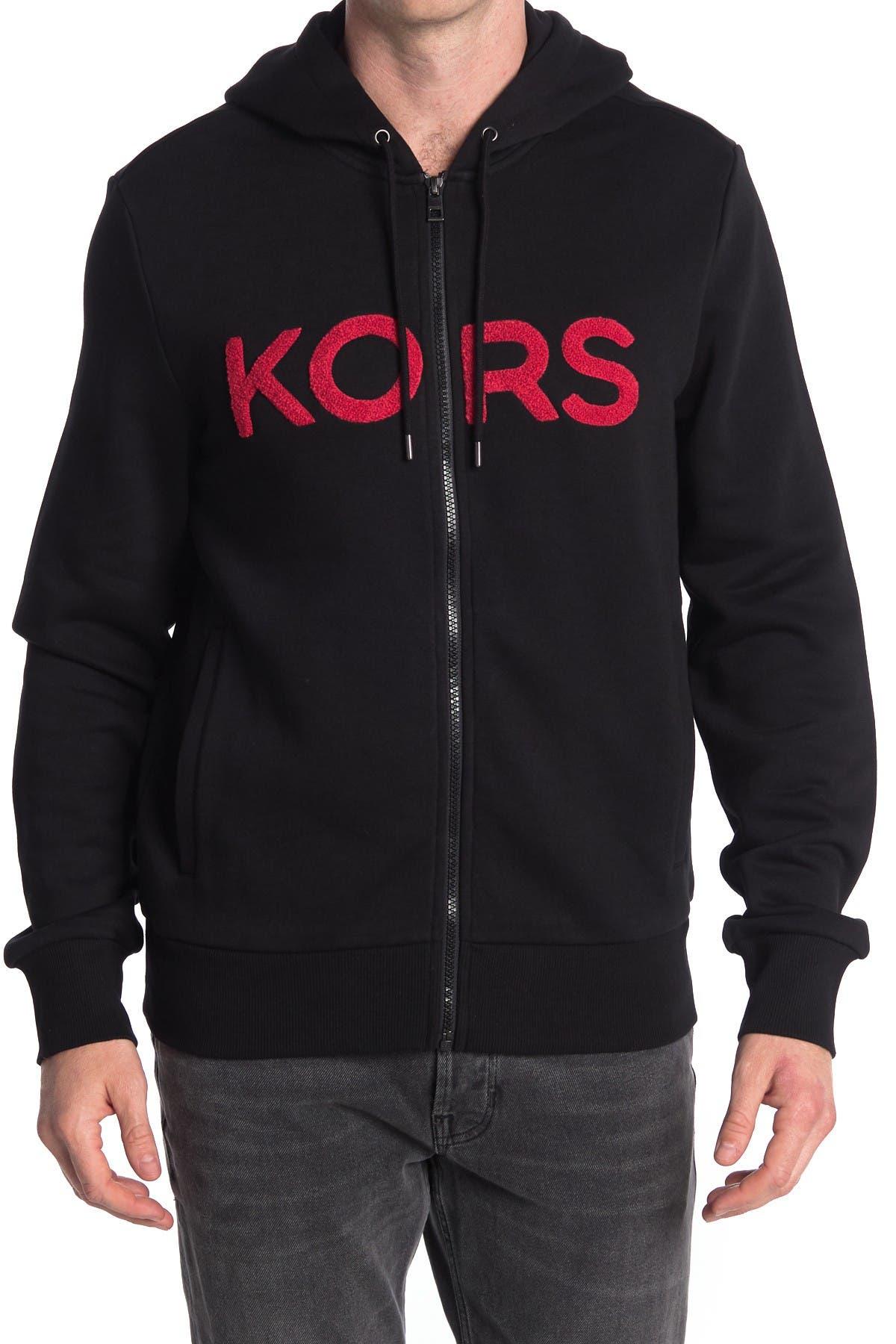 Image of Michael Kors Terry Logo Applique Zip Front Hoodie