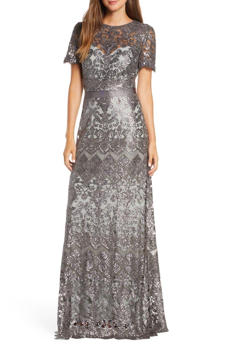 TADASHI SHOJI Sequin Lace Gown, Main, color, 020