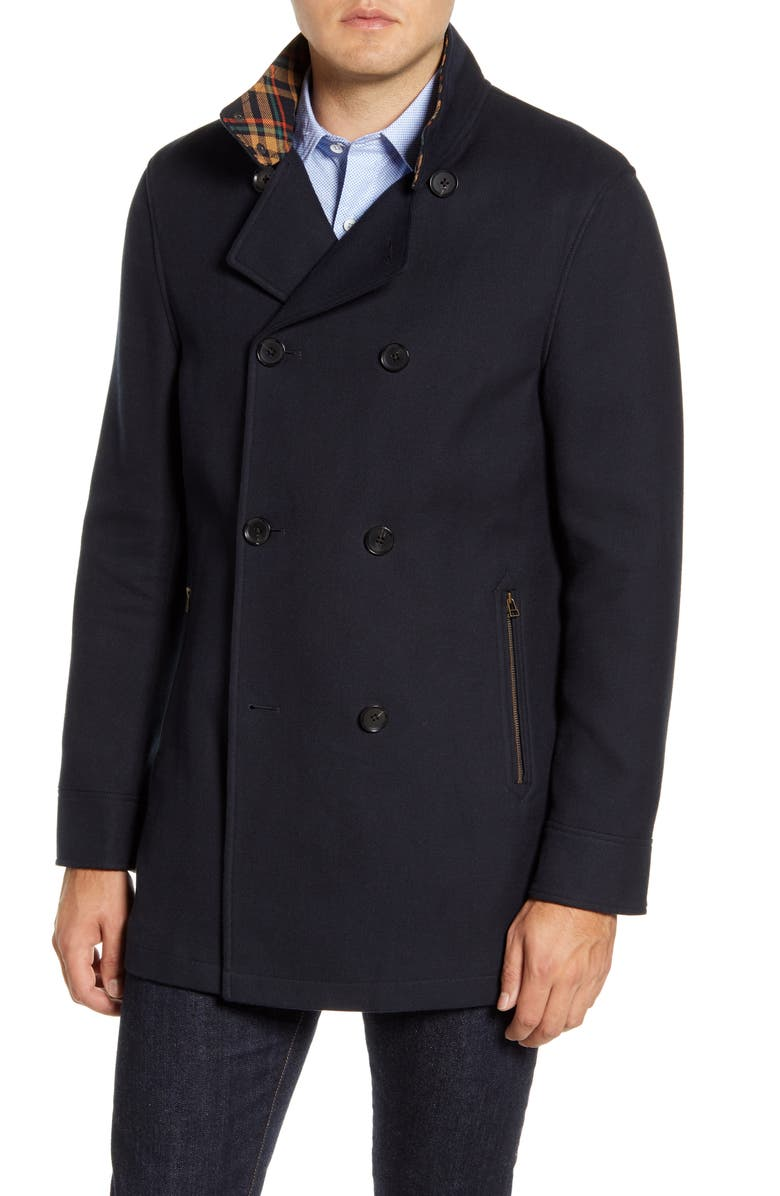 RODD & GUNN Nixon Regular Fit Double Breasted Peacoat, Main, color, MIDNIGHT