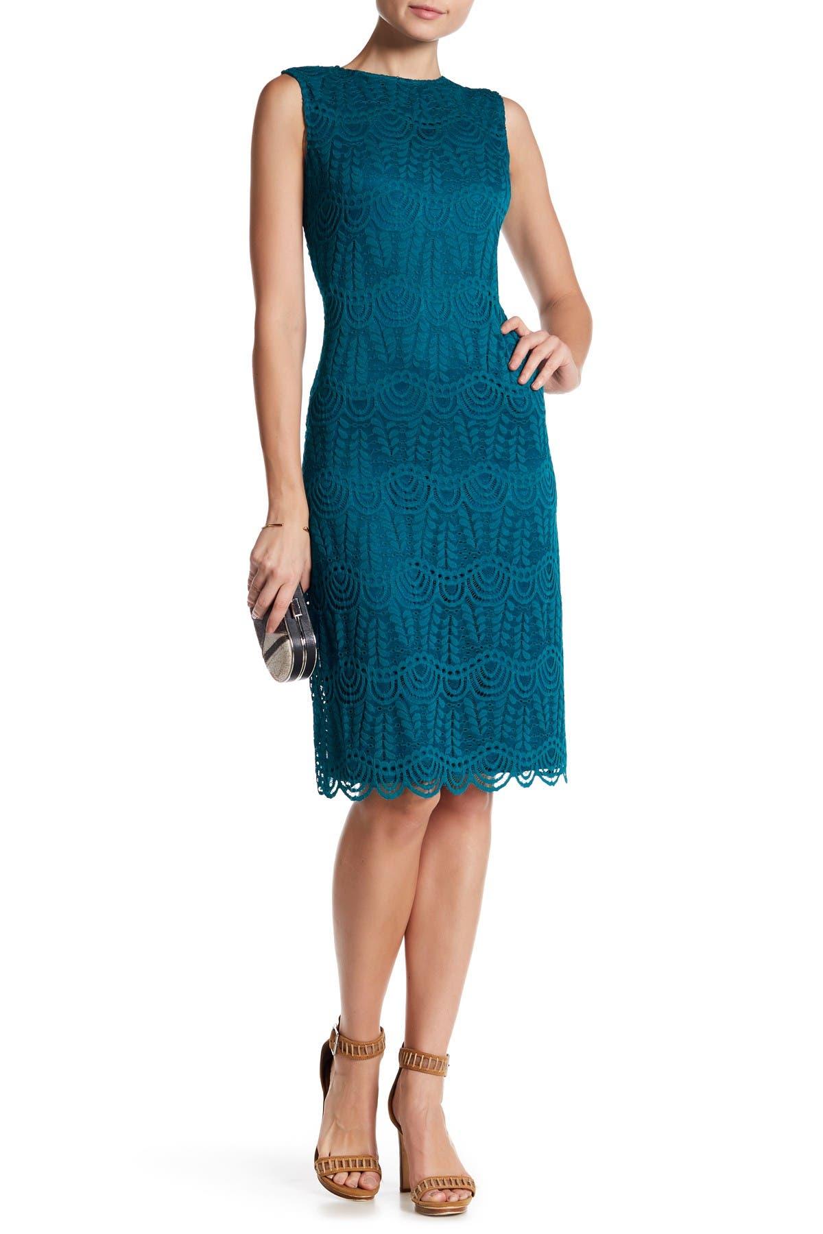 Image of Sharagano Sleeveless Scalloped Lace Dress
