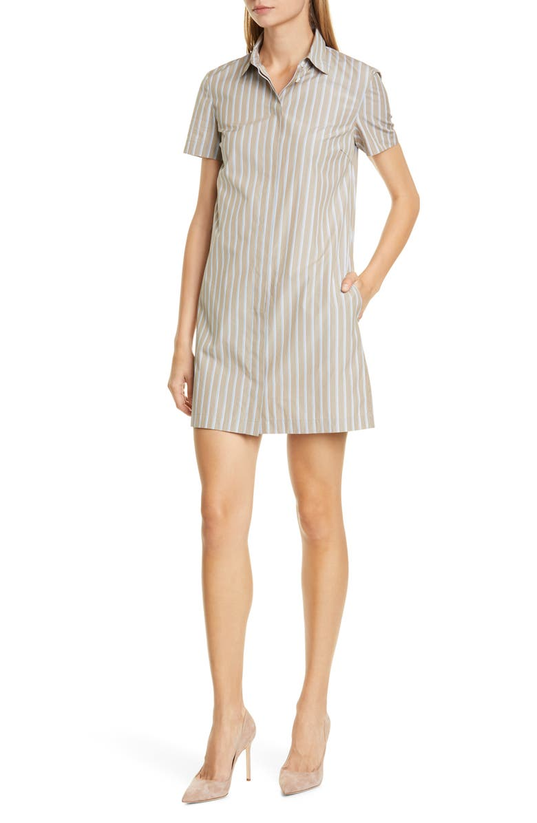 THEORY Ribbon Stripe Cotton Shirtdress, Main, color, MULTI