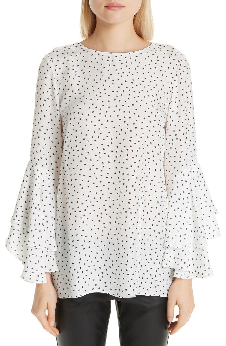 LAFAYETTE 148 NEW YORK Meg Dot Silk Bell Sleeve Blouse, Main, color, 100