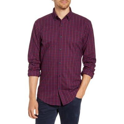 Mizzen+Main Wallace Trim Fit Plaid Flannel Button-Down Performance Shirt Red