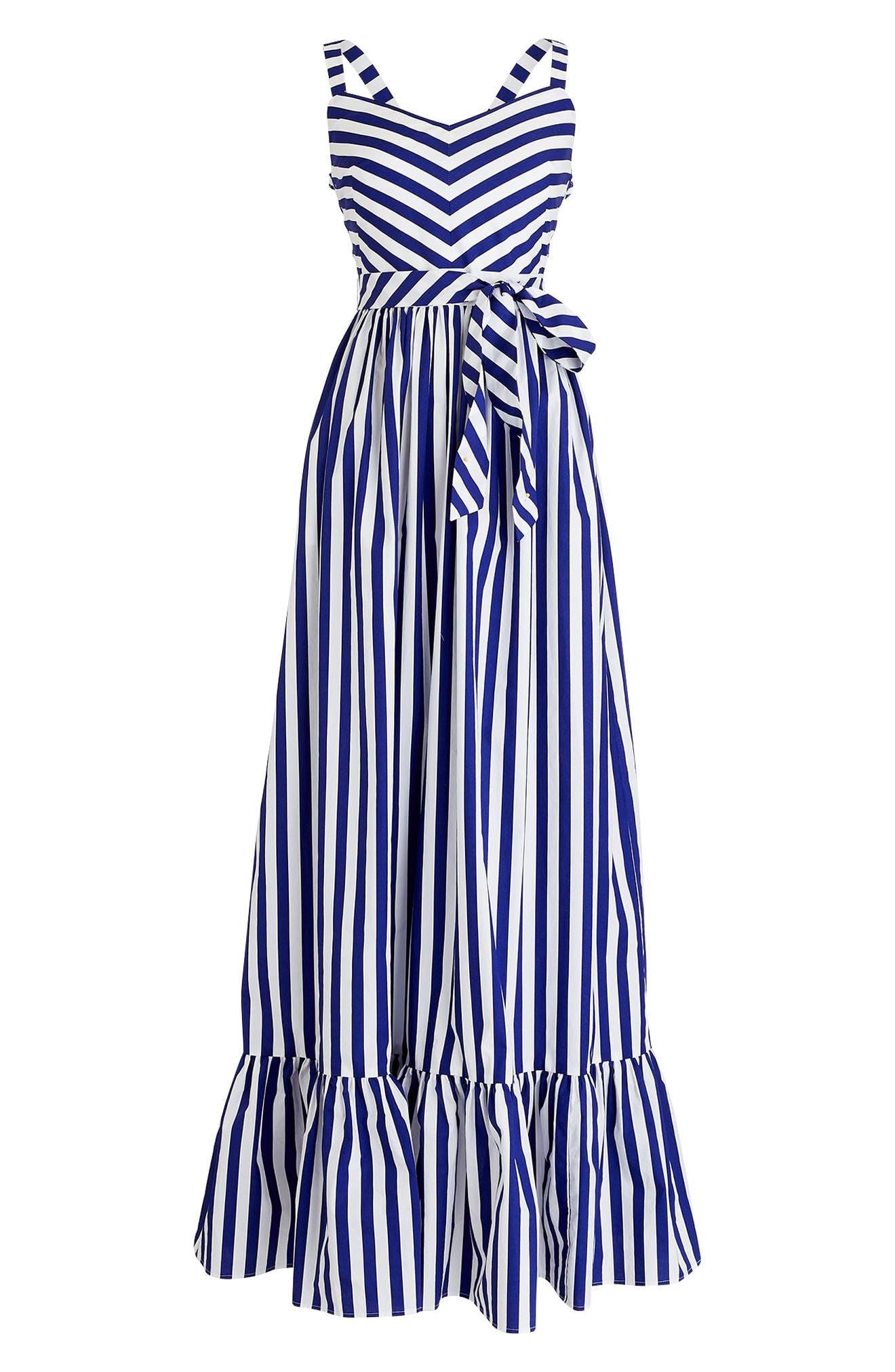 ,                             Stripe Ruffle Cotton Maxi Dress,                             Alternate thumbnail 5, color,                             WHITE DEEP ORCHID