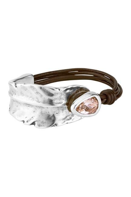 Image of Uno De 50 Estoy Colao Leaf Cuff Leather Bracelet