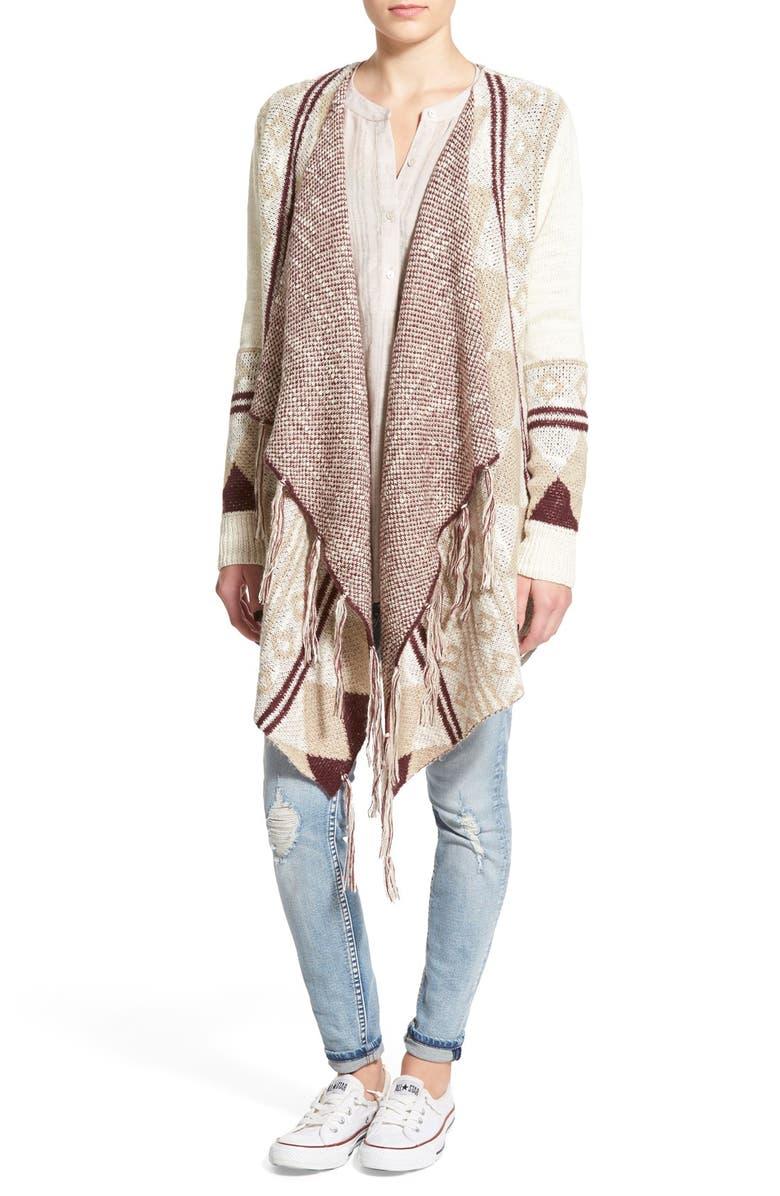 SUN & SHADOW Fringe Trim Blanket Cardigan, Main, color, 100