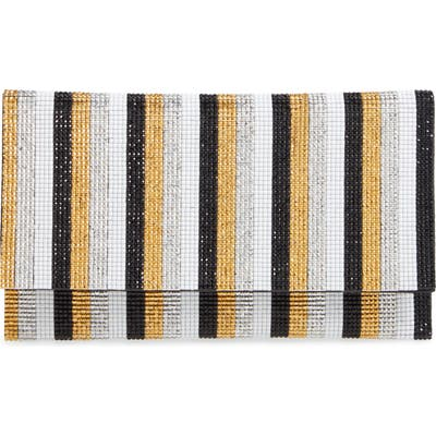 Nina Stripe Embellished Clutch - Metallic