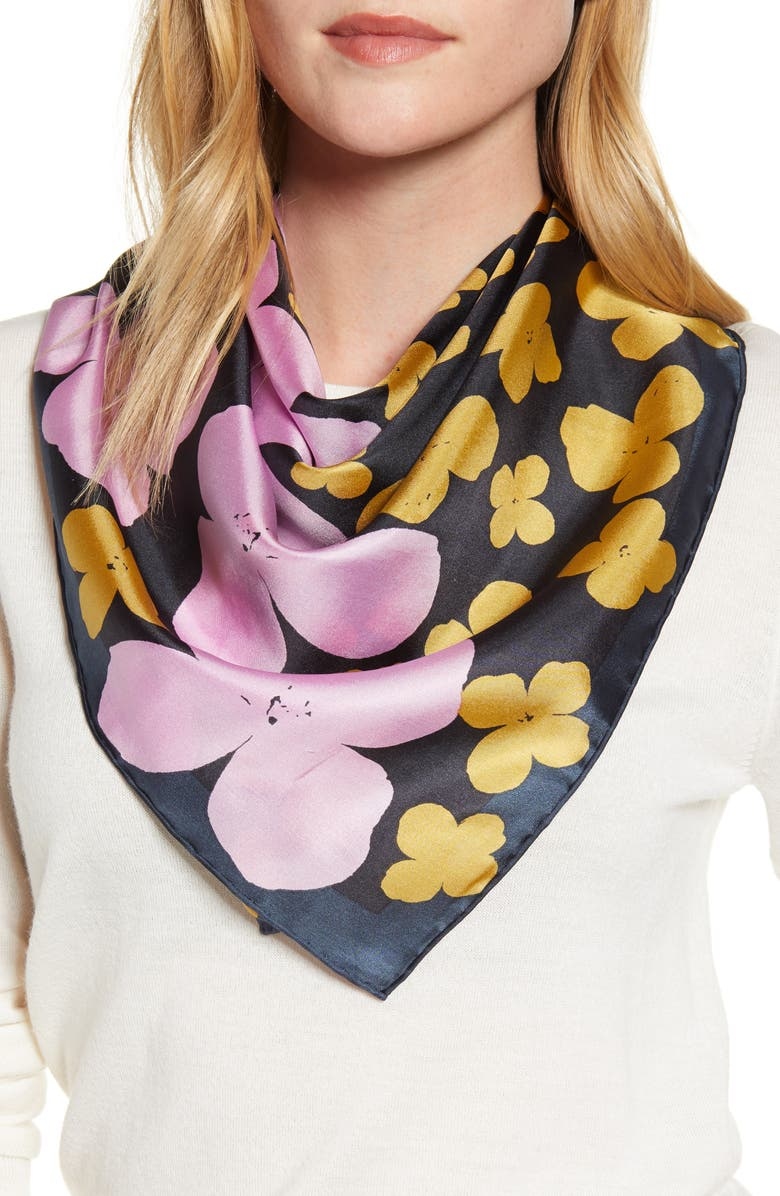 KATE SPADE NEW YORK shadow floral square silk scarf, Main, color, HOT SPRING