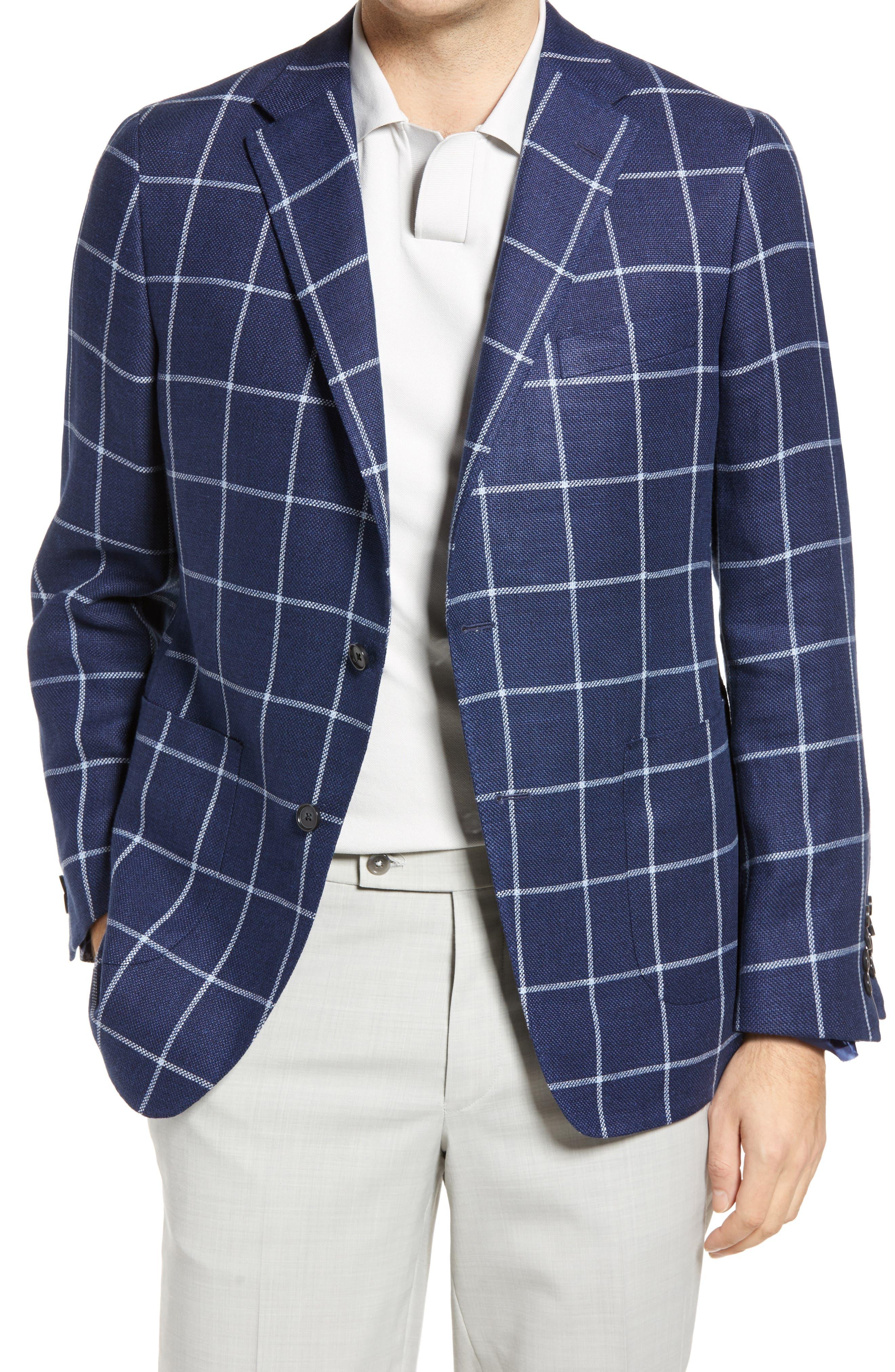 Classic Fit Windowpane Linen & Wool Sport Coat