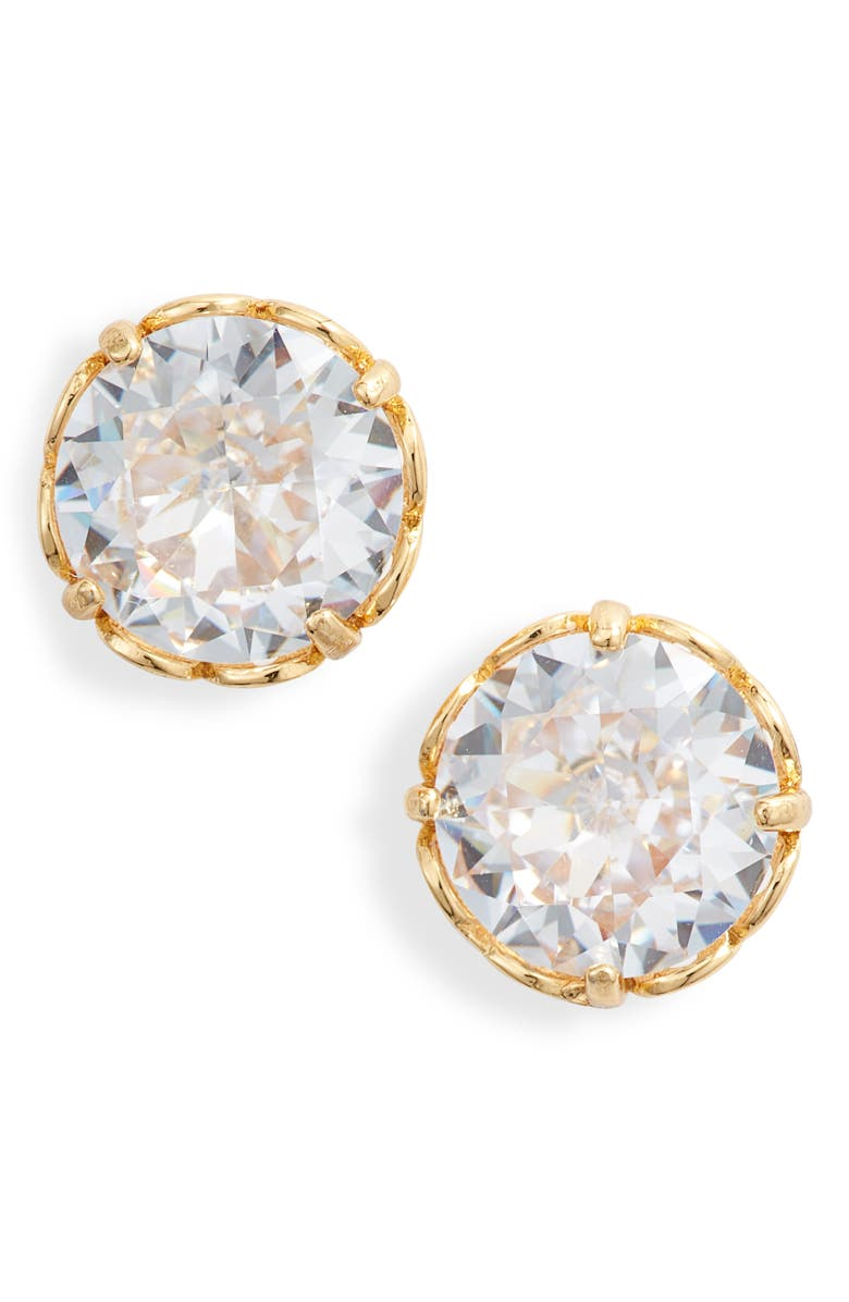 KATE SPADE NEW YORK that sparkle round stud earrings, Main, color, CLEAR/ GOLD