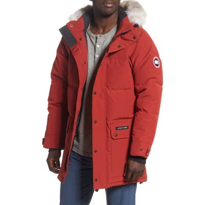 Canada Goose Emory Slim Fit Genuine Coyote Fur Trim Parka, Red