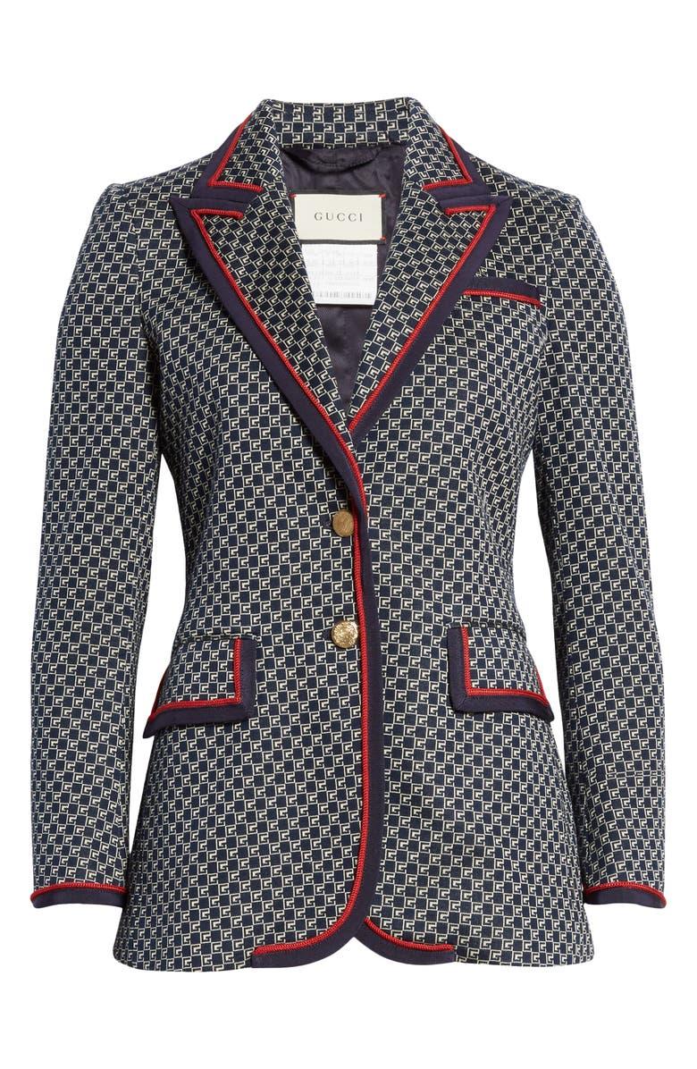 GUCCI Square G-Logo Jacquard Knit Jacket, Alternate, color, BLUE/ MIX