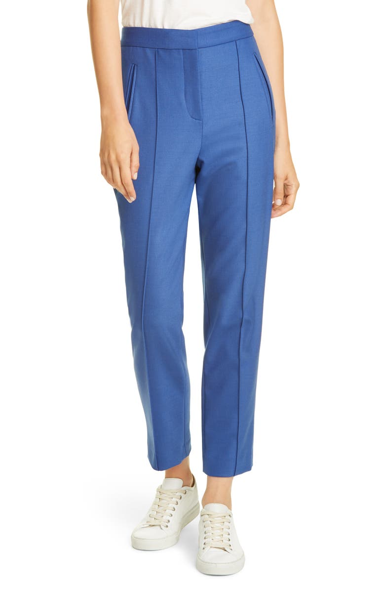 TAILORED BY REBECCA TAYLOR Gabardine Slim Trousers, Main, color, COBALT