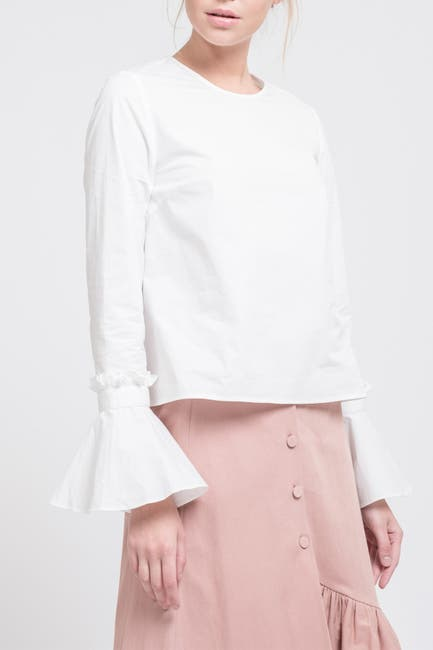 Image of J.O.A. Ruffle Trumpet Sleeve Top