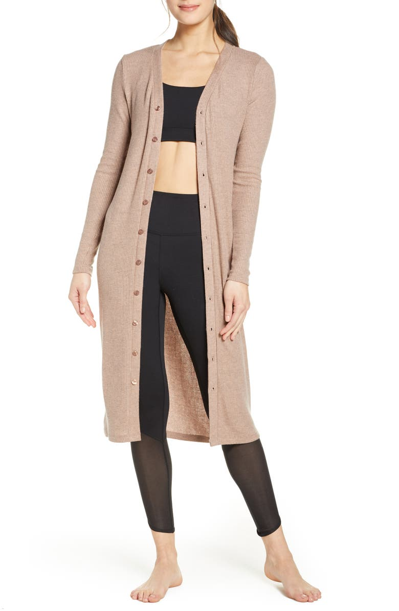 BEYOND YOGA Your Line Buttoned Duster, Main, color, TINTED ROSE HEATHER