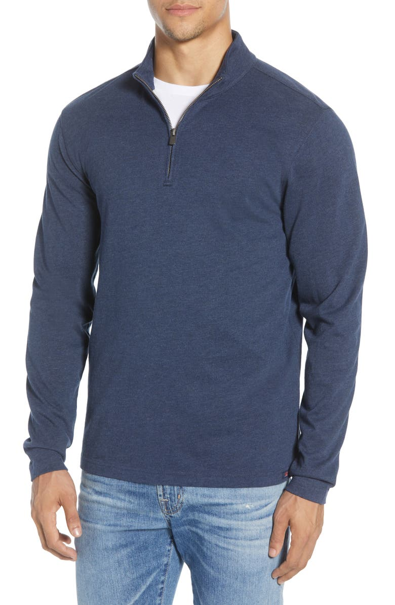 FAHERTY Suffolk Regular Fit Quarter Zip Pullover, Main, color, NAVY