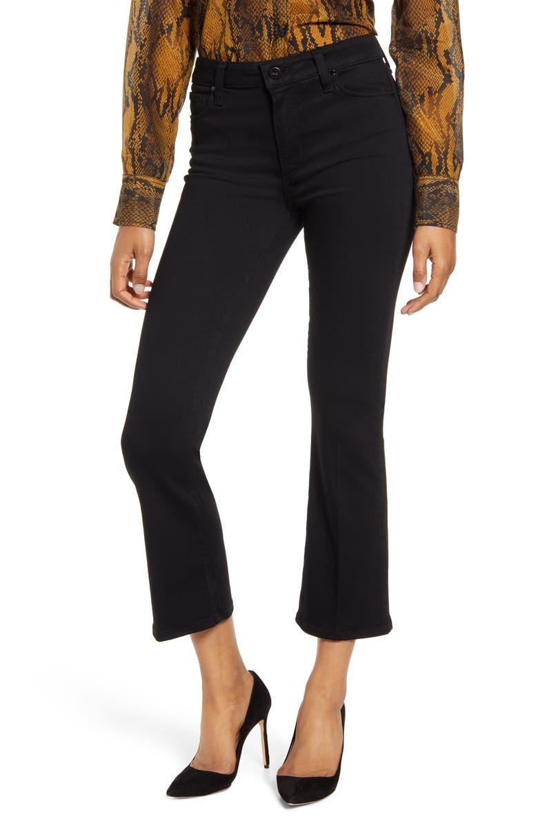 PAIGE Transcend - Colette Crop Flare Jeans, Main, color, BLACK SHADOW