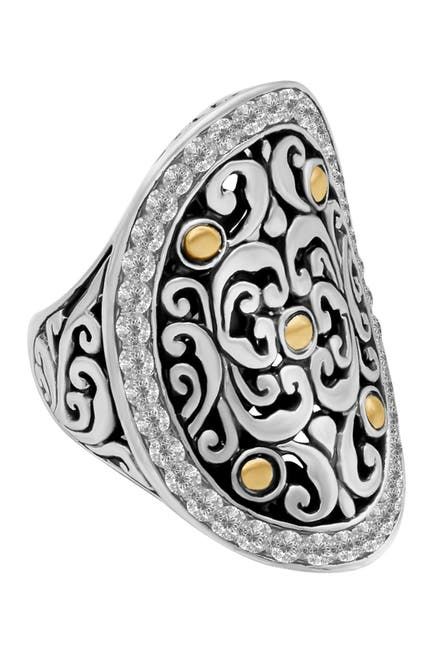 Image of DEVATA Sterling Silver & 18K Gold White Topaz Halo Ring