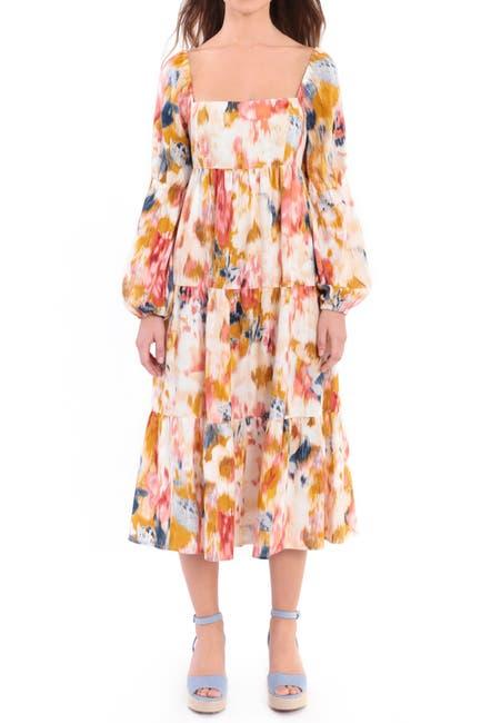 Image of Donna Morgan Printed Linen Blend Tiered Midi Babydoll Dress