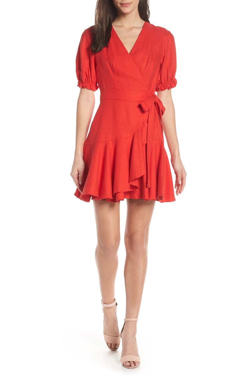 FINDERS KEEPERS Aranciata Wrap Dress, Main, color, RED
