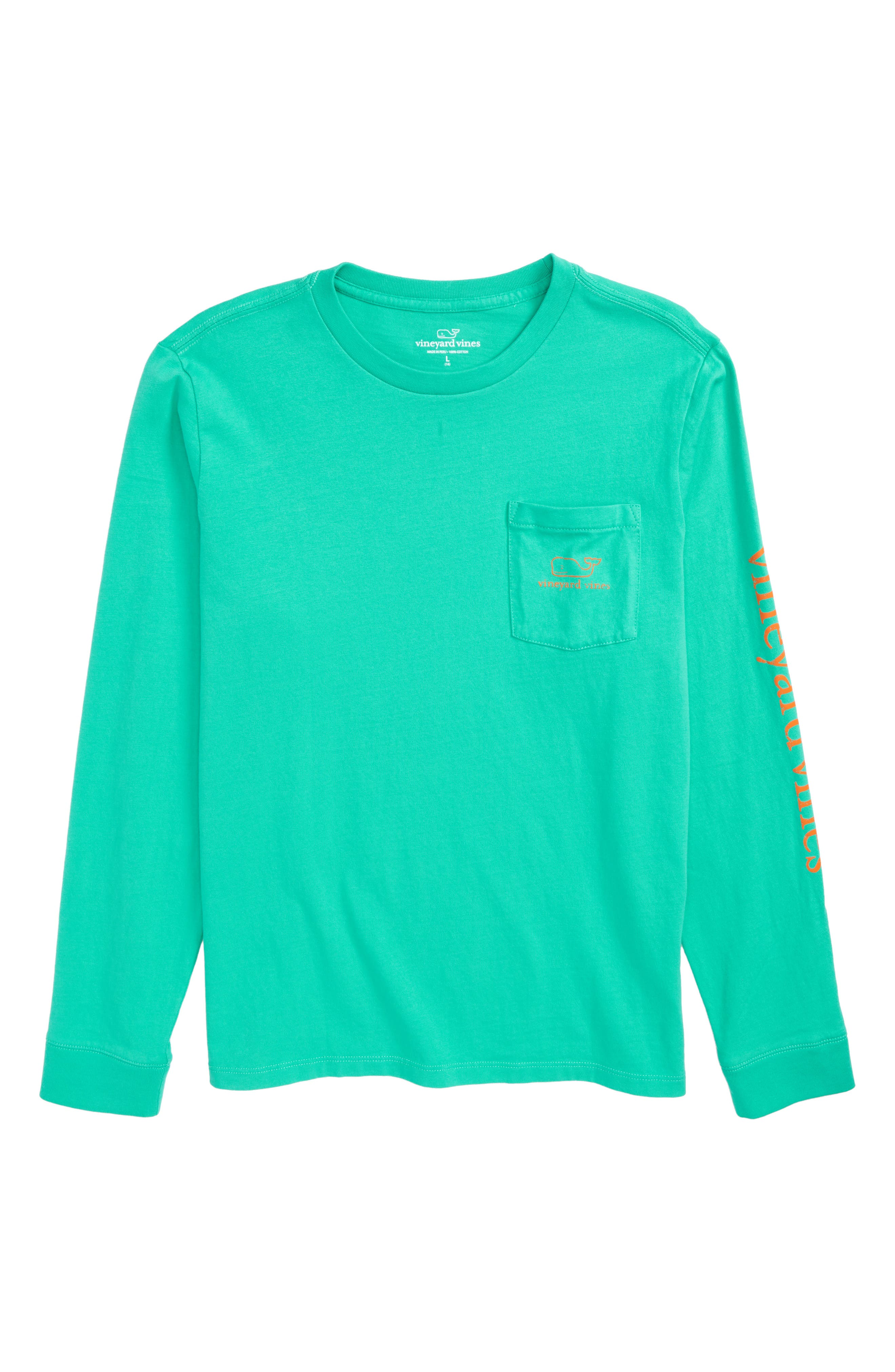 Vineyard Vines Girls L//S  Blue Graphic Vintage Whale Cover-Up Pocket T-Shirt