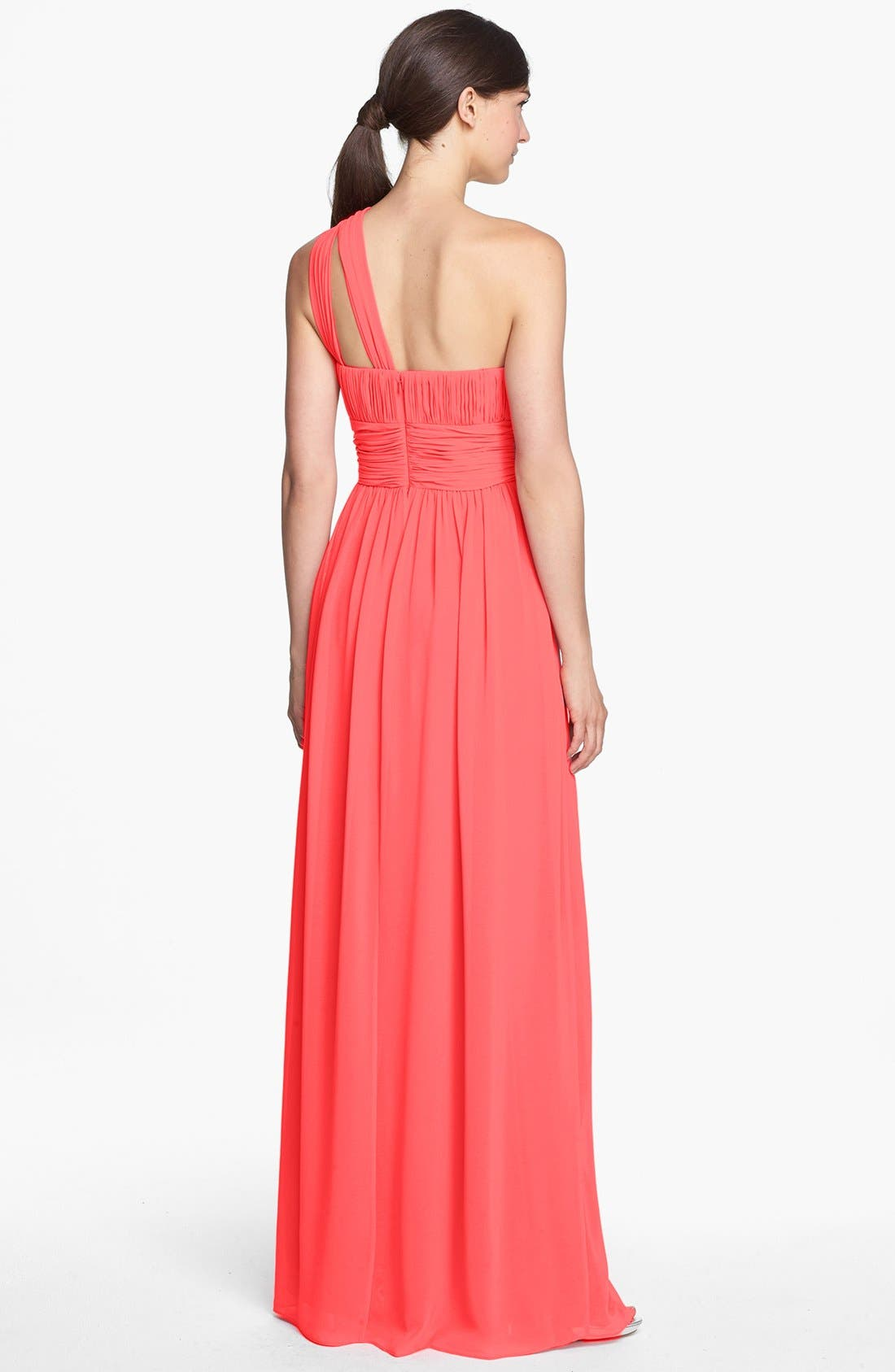,                             'Rachel' Ruched One-Shoulder Chiffon Gown,                             Alternate thumbnail 143, color,                             955