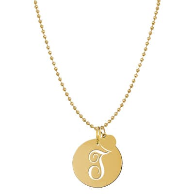 Jane Basch Designs Personalized Script Initial Disc Pendant Necklace