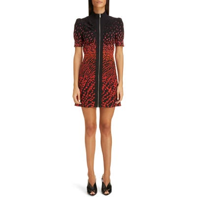 Givenchy Degrade Feather Print Silk Crepe Minidress, US / 40 FR - Black