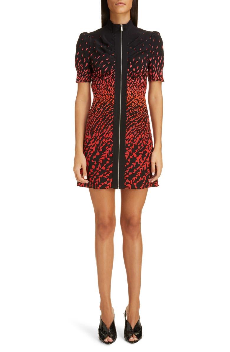 GIVENCHY Dégradé Feather Print Silk Crepe Minidress, Main, color, BLACK/ RED