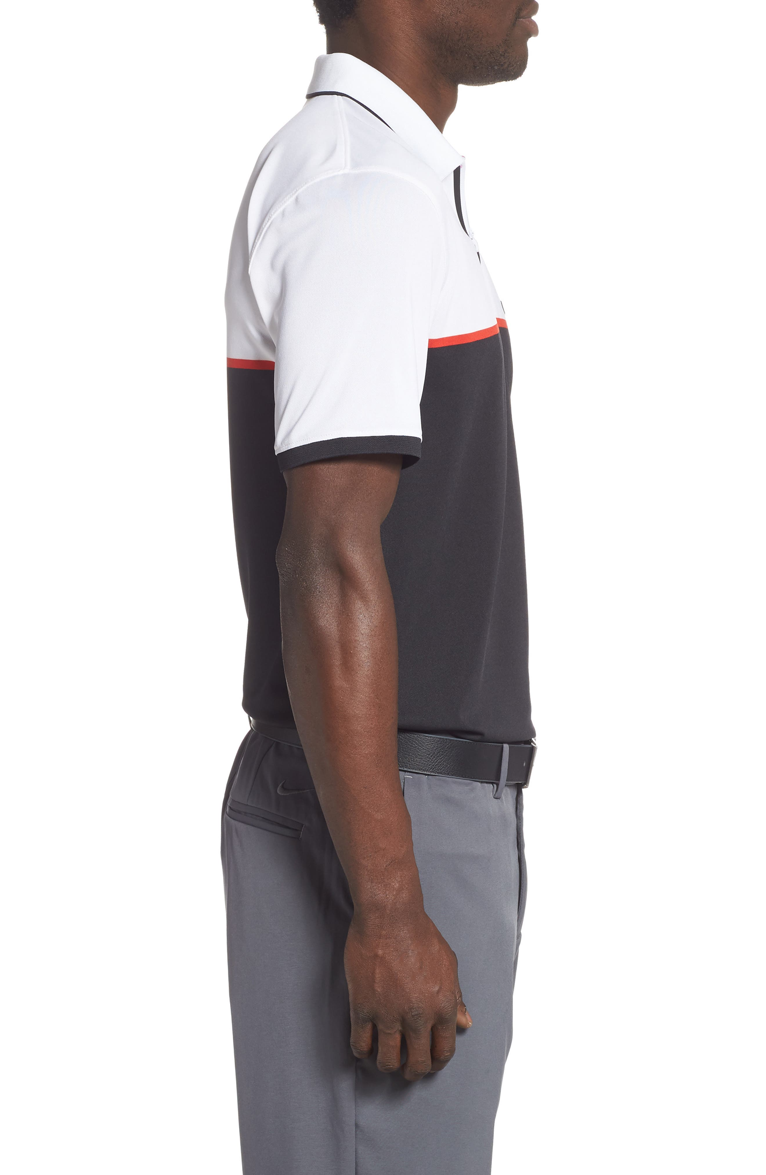 ,                             Zip Performance Golf Polo,                             Alternate thumbnail 3, color,                             BLACK INK / SNOW
