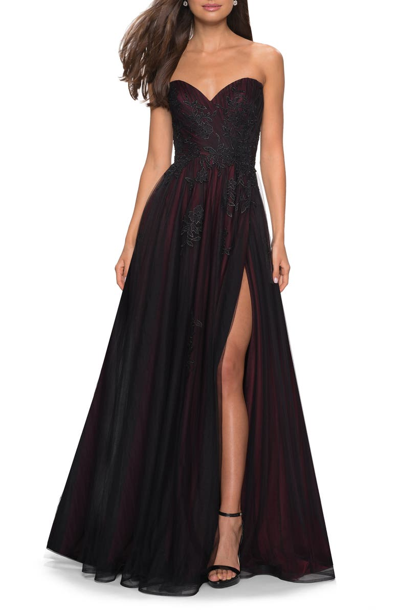 LA FEMME Strapless Embroidered Mesh Ballgown, Main, color, BLACK/ BURGUNDY