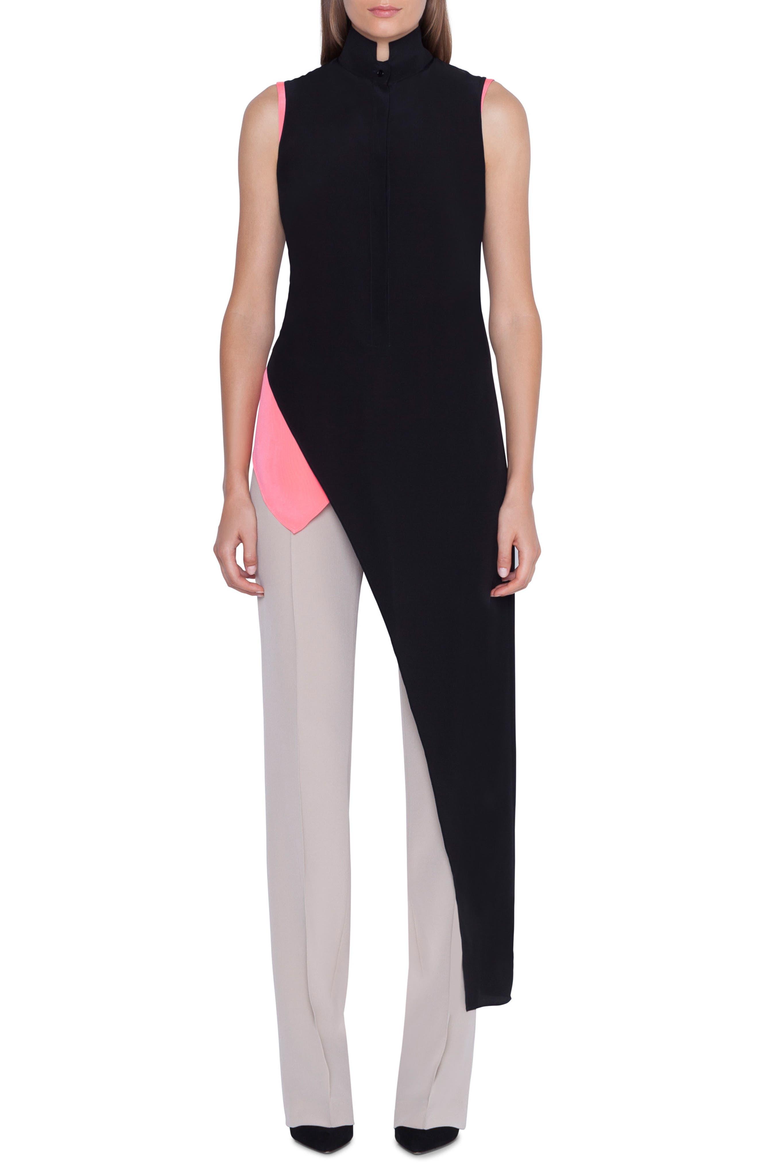 ,                             Asymmetrical Silk Crepe Tunic,                             Main thumbnail 1, color,                             BLACK