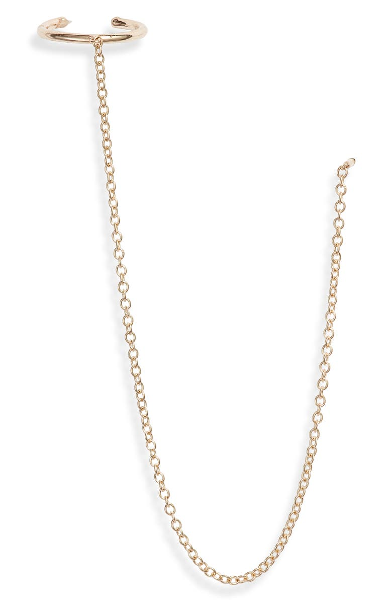 ZOË CHICCO Chain & Ear Cuff, Main, color, YELLOW GOLD