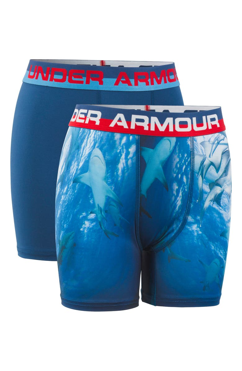 UNDER ARMOUR Shark 2-Pack Boxer Briefs, Main, color, PETROL BLUE