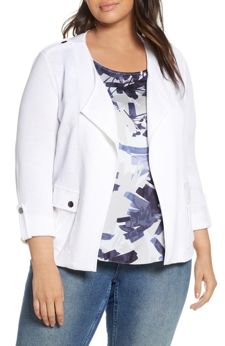 NIC+ZOE In Flight Linen Blend Knit Jacket, Main, color, PAPER WHITE